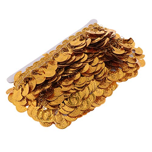 non-brand Homyl 10 Meter Quaste Fringe Trim Spitzenbesatz Spitzenbordüre Spitzenband Spitzen Dekoration, DIY Trimmen Band - Gold, 5,5 cm -