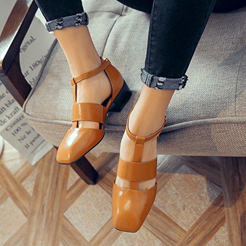 Damen Round Toe Sandalen Mittelhohem Blockabsatz T-Spange Gelb