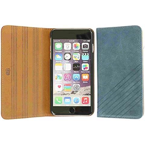 3Q Lujosa Funda iPhone 6 Plus Funda iPhone 6S Plus Carcasa cuero genuino piel real Novedad Mayo 2016 Flip Case Apple iPhone 6 Plus folio Top Diseño lujoso exclusivo Suizo Azul