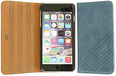 3Q Luxurious Apple iPhone 6 Plus Case iPhone 6S Plus Case Real genuine Leather outside inside front and back Flip Cover i-Phone 6S Plus Wallet Stand Function Card-Holder Slim Thin Sleeve 5.5 inch Blue