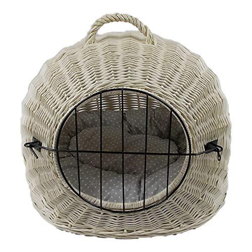 Katzenkorb aus Weide Weiß Gebleicht   Größe XL 55x45x47 cm   abnehmbares Metall-Gitter Transportkorb/Transportbox für Katzen Hunde   Katzenhöle Hundebett