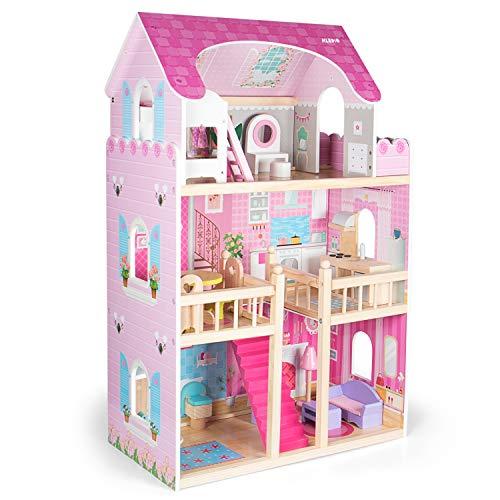 Kledio Casa di Bambole in Legno per Bambini e Bambine dai 3 Anni in Su - Legno FSC® 100%, incl. Accessori da 16 pz - 90 x 60 x 23 cm