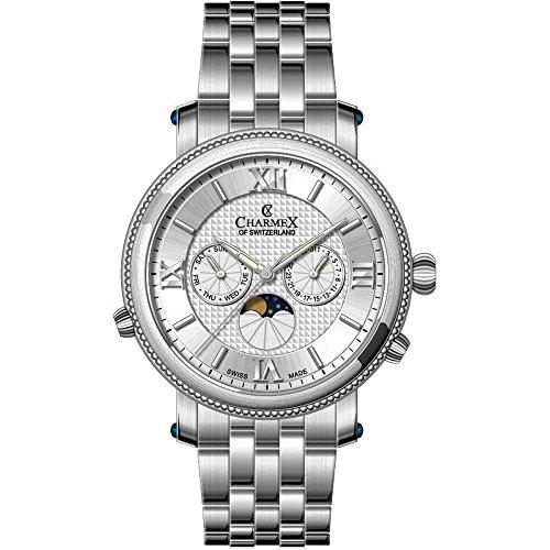 Charmex Men's Salzburg 42mm Steel Bracelet Quartz Silver-Tone Dial Watch 2970