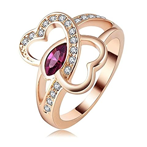KnSam Bague Femme Eternity Or Rose Plated Double Heart Inlay US 52.5