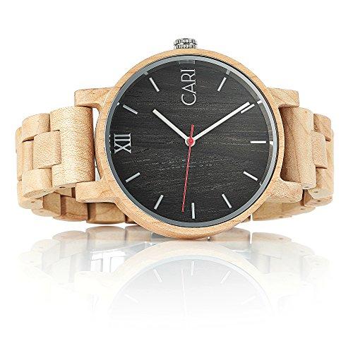 Cari Herren Holz Armbanduhr Mailand Ahornholz Beige MA-060356