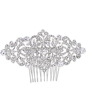 EVER FAITH® österreichischen Kristall Art Deco Braut Haarkamm Haarschmuck Klar Silber-Ton
