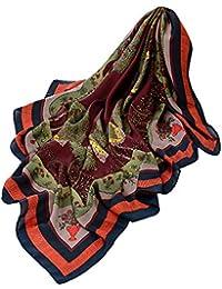BaZhaHei Echarpe Jungle Femme Châle Foulard Souple à Motif Carré de Couleur  Jungle Rétro Elégant Echarpe 077f1b7901b