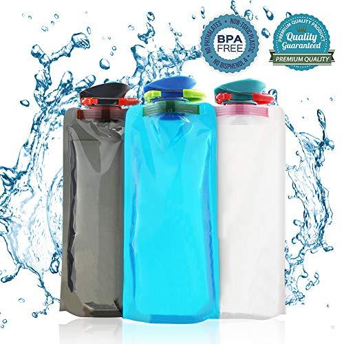BESTZY 700ML Faltbare Wasserflaschen 3er-Set Trinkflasche Trinkrucksäcke, Flexible zusammenklappbare Wiederverwendbare Wasser Gewicht Tasche für Wandern,Abenteuer,Reisen