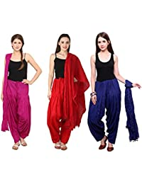 Fashion Store Women Cotton Patiala Salwar With Dupatta Combo Of 2 (Free Size, Red & Blue & Pink )