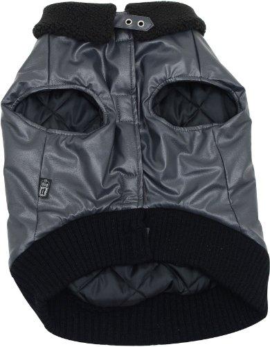 Dogit Faux Leather Bomber Dog Jacket, XX-Large, Charcoal