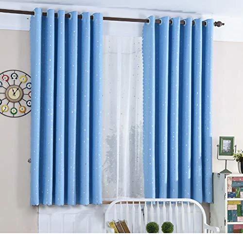 WLGGRH Cartoon niedlichen Himmel Sterne Vorhang Kinderzimmer Schlafzimmer Balkon Fenster Wohnzimmer Vorhang 117cmx137cm (B x H) 2 Platten Blau (Doppel-platte Bügel)