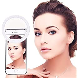 BlueBeach® 36 LED Clip Su Mini Anello Selfie Ring Faretto LED macchina fotografica cellulare luce del Flash Foto Video lampada chiara per Smartphones (Bianca)