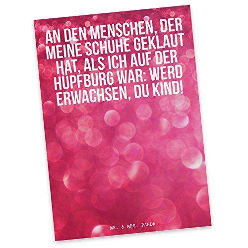 """Mr. & Mrs. Panda Postkarte Spruch \""""An die Person, die meine Schuhe versteckt hat, während ich auf der Hüpfburg war: Werd erwachsen!\"""" - 100{d9e04f97ce3c5247df0e414bc4788a64cbb2d09722860fc4a6780998949df7f8} handmade aus Karton 300 Gramm - Postkarte, Postkarten, Einladungskarte, Geschenkkarte, Brief, Spruch des Tages, Kärtchen, Geschenk, Karte, Papier, Einladung Erwachsen, Hüpfburg, Spielen, witzig, lustig, Spaß, Spruch, Schuhe, Freundin, Geschenk Spruch Sprüche Lustig Spass Geschenk Geschenkidee Zitate"""