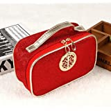 HOYOFO Travel Toiletry Case Cosmetic Bags With Mirror (Red)