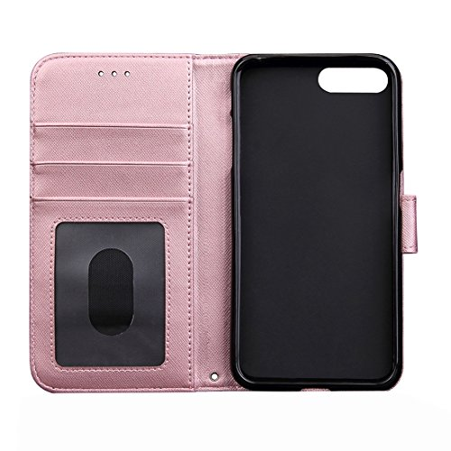 Hülle für iPhone 7 plus , Schutzhülle Für iPhone 7 Plus Kneten Haut Textur Splice Horizontale Flip Leder Tasche mit Foto Frame & Card Slot & Holder & Wallet & Lanyard ,hülle für iPhone 7 plus , case f Pink