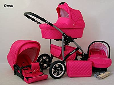 Kinderwagen Qbaro, 3 in 1- Set Wanne Buggy Babyschale Autositz Rosa