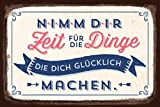 Grafik-Werkstatt 60566 Wandschild | Vintage-Art | Nimm Dir Zeit für die Dinge. | Retro Blechschild - Wandschild, Metall, Uni, 30 x 20 cm