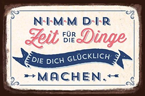 Grafik-Werkstatt Wandschild Art Vintage Blechschild mit Spruch | Retro Wand-Deko | Nostalgie | weiß | Nimm dir Zeit für Dinge, Metall, Uni, 30 x 20 cm