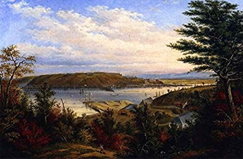 View Of Quebec From The Grand Trunk Railway Station At Pointe-Lévis - By Cornelius Kriegho - impressions sur toile 32x21 pouces - sans cadre