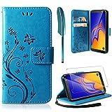 AROYI Cover Samsung Galaxy A10, Retro Design Flip Caso in PU Pelle Premium Portafoglio [Slot per Schede] [Chiusura Magnetica] Custodia per Samsung Galaxy A10 - Blu