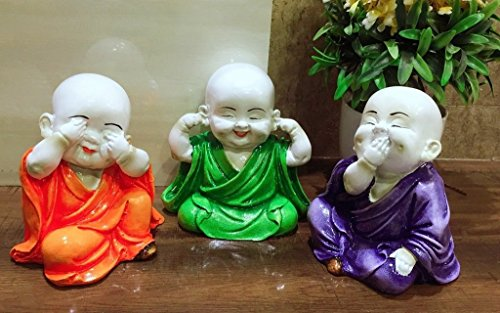 Karigaari India Colorful Set of 03 Laughing Baby Buddha Showpiece Figurine (Orange,Purple,Green)