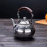 LINGZHIGAN Home Edelstahl Teekanne Retro Kaffee Topf Verdickte Kessel Induktionskocher kann beheizt werden 2L ( Farbe : Silber )
