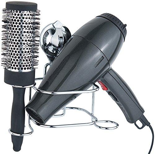 Carlo Milano Haartrocknerhalter: Haartrockner-Halter mit Saugnapf, verchromt, Anbringung ohne Bohren (Föhnhalter)