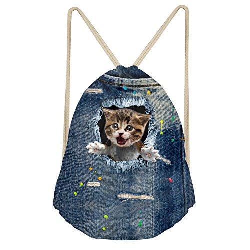 HUGS IDEA Comboy Kitty Drawstring Backpack Travel Foldable Storage Pouch Beach Sport Yoga String Bag