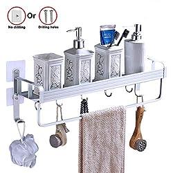 Yeegout adhésif étagère de salle de bain avec porte-serviettes et crochets, aluminium Pas de forage mural étagère douche pour la cuisine
