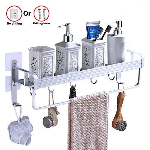 Yeegout adhésif étagère de salle de bain avec porte-serviettes et crochets, aluminium Épaississant Pas de forage mural étagère douche pour la cuisine (1 niveau)