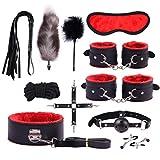 Wnlyb Männer Frau Massage Werkzeuge 10 Sätze Handschellen Schlüssel Cosplay Partei Liefert Cosplay Kostüm Zubehör,Rot