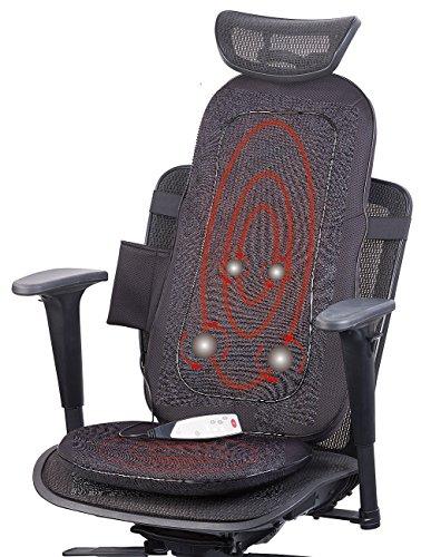 newgen medicals Massageauflage: Shiatsu-Sitzauflage für Rückenmassage, mit IR-Tiefenwärme & Vibration (Rückenmassagegeräte)