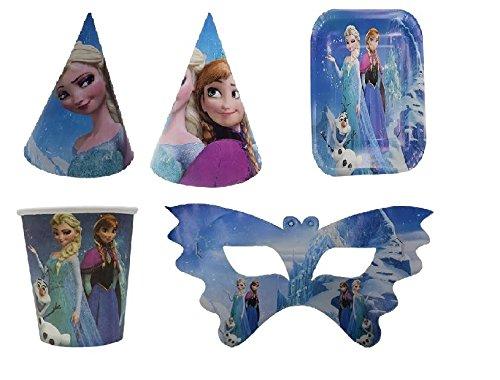 Happy Birthday Frozen Combo hat,Cups,Plate and EyemaskTheme / Frozen Theme (10 pcs each)