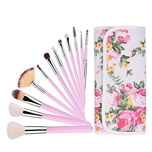 UNIMEIX Professional 12 pièces de maquillage Set de brosses cosmétiques Set avec étui en rose (poignée rose)