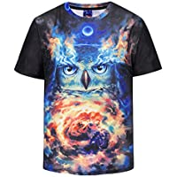 FENICAL Hombres Camisetas de Verano 3D Owl Printed T-Shirts T-Shirt Tamaño XL DX802002