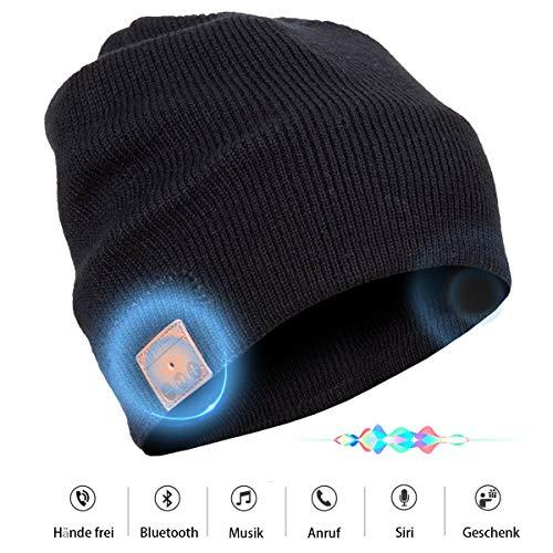 Bluetooth Beanie Mütze mit Stereo Lautsprechern Unisex Musik Strick-Mütze Bluetooth Beanie Gestrickte Hut mit drahtlos MIC Hands-gratis Kopfhörer singen Outdoor-Sport Jogging-Ski-Snowboard