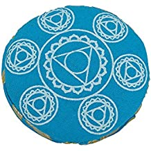 Cojín redondo azul con forro de brocado - Chakra Cojín de percusión impreso
