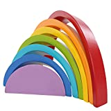 Lewo-De-madera-Arco-iris-Apilado-Juego-Aprendizaje-Juguete-Geometra-Bloques-de-construccin-Juguetes-educativos-para-nios-beb