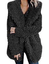 VICGREY ❤ Donna Giacca con Cappuccio Elegante Vintage Giubbotto Manica  Lunga in Pelliccia Caldo Peloso Cappotto 523e109ec35