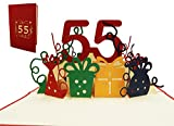 LIN17370, POP UP 3D Glückwunschkarte, Geburtstagskarte 55. Geburtstag, 55 party, rot, N244