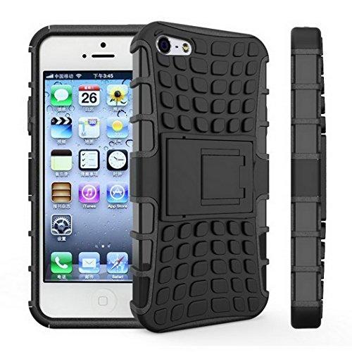 """Cas iphone 5 5 s cas souple en plastique dur support en plastique stand Capa Phone Coque 4.0 """" noir"""