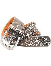 Kandharis Nietengürtel Gürtel mit Kreuz Strass Gothic Muster Metallic runden Nieten im Vintage Design kürzbar Damen LG-N15