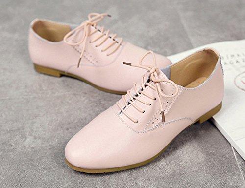 Chaussures Pour Femmes Hwf Chaussures Pour Femmes Printemps Chaussures Simples Occasionnels Chaussures Style Étudiant En Cuir De Style Art (couleur: Blanc, Taille: 35) Rose