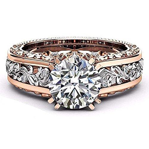 Liquidazione offerte, fittingran anello di nozze in oro rosa pietre preziose anelli di fidanzamento anello floreale con gioielli regalo (10, argento)