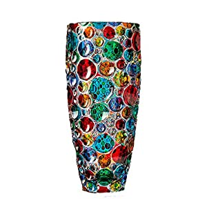 """Bubbly"" Bohemia Kristallvase handbemalt Murano Style Venedig"