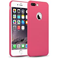 iPhone 8 Plus, iPhone 7 Plus Silikonhülle | JAMMYLIZARD Ultra Slim Skin Case Hülle 0.8mm [Jelly Cover] Schutzhülle aus mattem TPU-Silikon, Rosa Rot