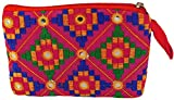 Exotic India Embroidered Clutch Bag with...