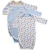 Luvable Friends baby-girls baby-boys unisex-child 3 Pack Cotton Gown Nightgown - Blue