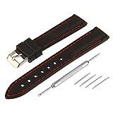 BEWISH 28mm Silikon Uhrenarmband Gummi Rote Linie Ersatzband Edelstahl Metall vergoldete Faltschließe Wechselarmband Wrist Strap Watch Band