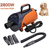 Paneltech 2800W Profi Hundefön Hundetrockner Leise Low Noise Hundepflege Haartrockner Einstellbare Wärme und Drehzahl Hundefön Blower Pet Dog Dryer (Orange)